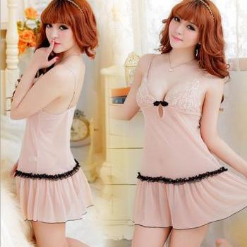 Beige sexy sleepwear spandex Skirt set Charming pajamas