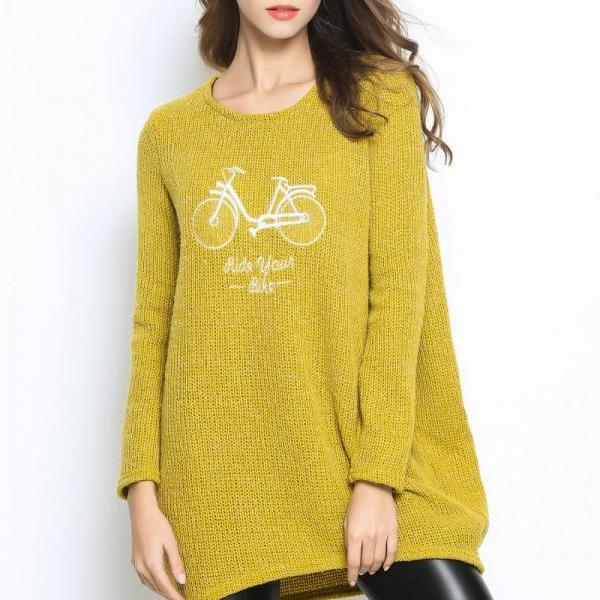 Women Large Size Autumn O-Neck Pullover Long Sleeve Casual Loose Sweater Knitted Tops - Yellow