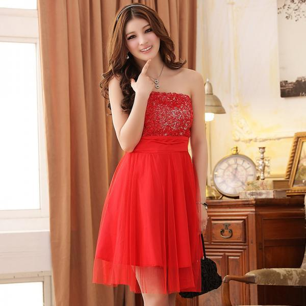 Fashion Rose Pattern Sleeveless Red Evening Dress Wedding Bridesmaid Dress