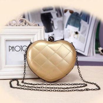Cute Fashion Chain Mini Lingge Heart Bags Clutch Handbag-Gold