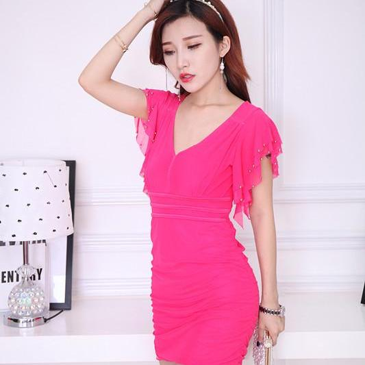 Free Shipping Sexy Charming V collar Mini Dress For Lady - Rose
