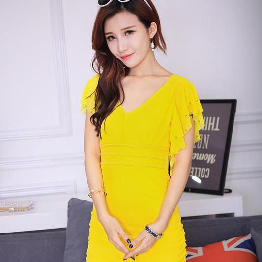 Free Shipping Sexy Charming V collar Mini Dress For Lady - Yellow