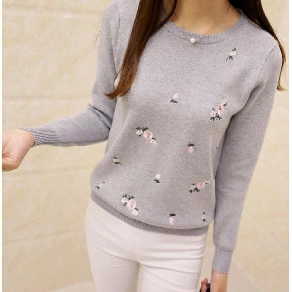 Women Printing Pullover Long Sleeves Sweater