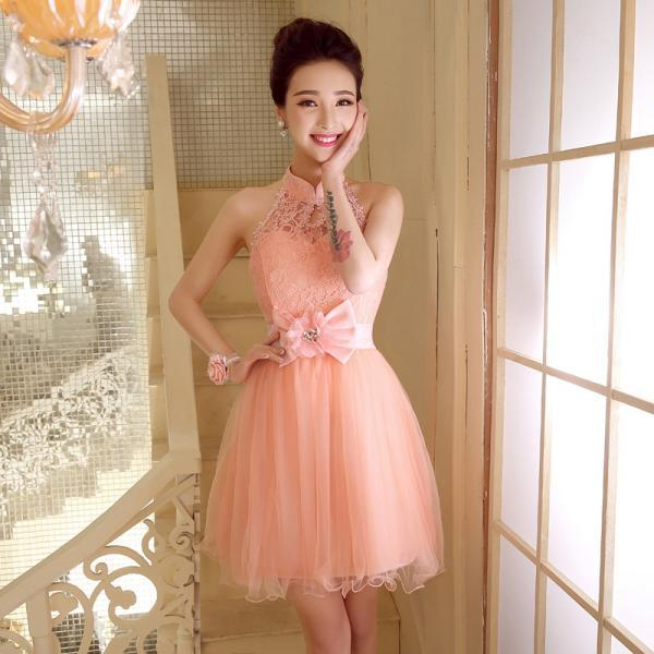 New Women Halter Bridesmaid Wedding Prom Party Mini Dress - Pink