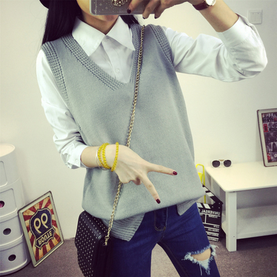 Loose V Collar Knitted Vest For Women