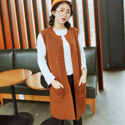 Long knit cardigan sweater vest sleeveless loose coat