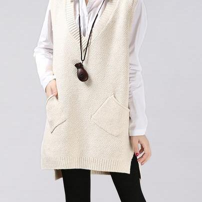 New women winter V collar long sleeveless vest Dress