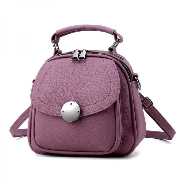 Cute Backpack Small Bag School Mini Girls Women Leather Shoulder Bag - Purple