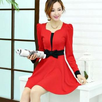 2014 New Autumn Sweet Bow Women's Slim Long Sleeved Dress - Red