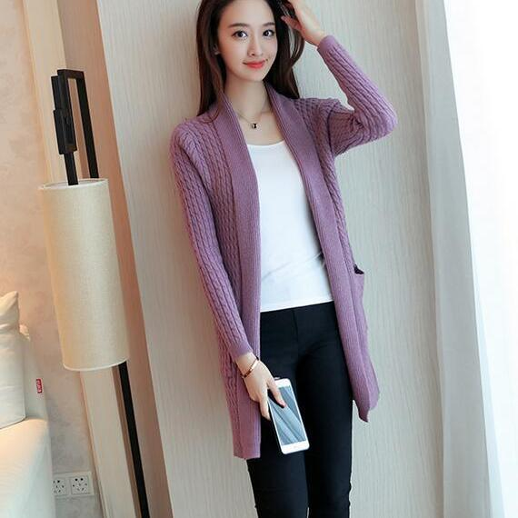 New Fashion Long Sleeve Cardigans For Women - Purple