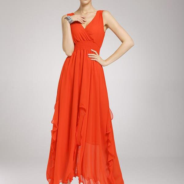 Nice Summer New Long Solid Chiffon Dress