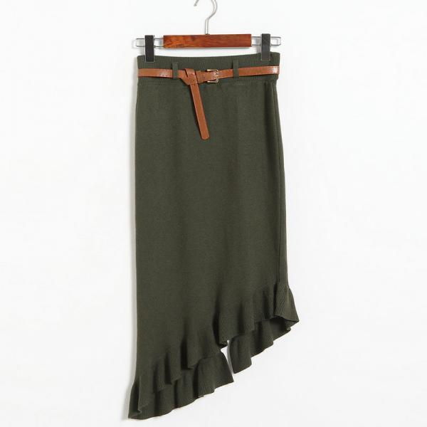 Autumn winter Skirts Womens Knitted Slim Package Hips Skirt With Belt - Amy Green
