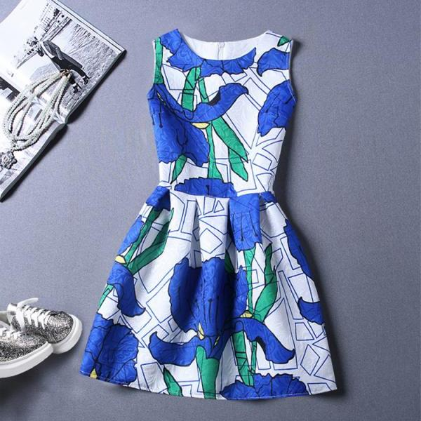 Sweet O-Neck Printing Sleeveless Vest Dress For Women 2 Color