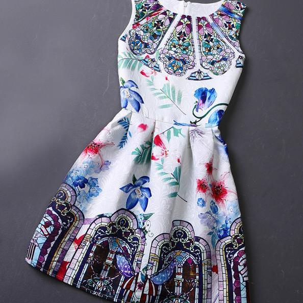 Retro O-Neck Printing Sleeveless Vest Dress For Women