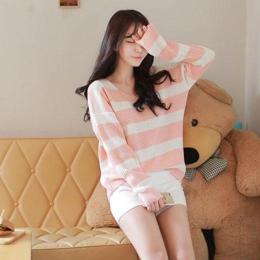 Women Loose Autumn New Sweet Stripe Sweater