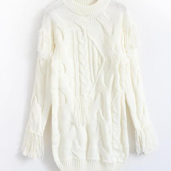 New fashion Loose fringed dress sweater