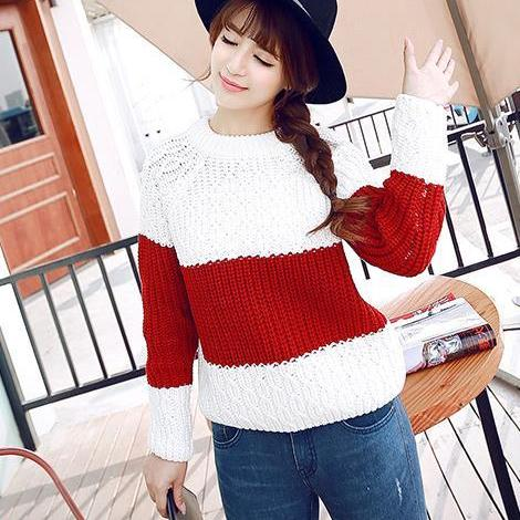 Women stripe knit pullover Sweater shirt