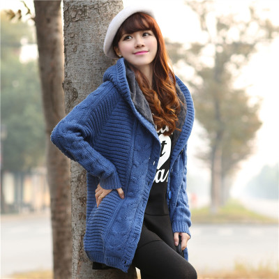 Sweet Hooded Collar Long Cardigan Coat For Ladies