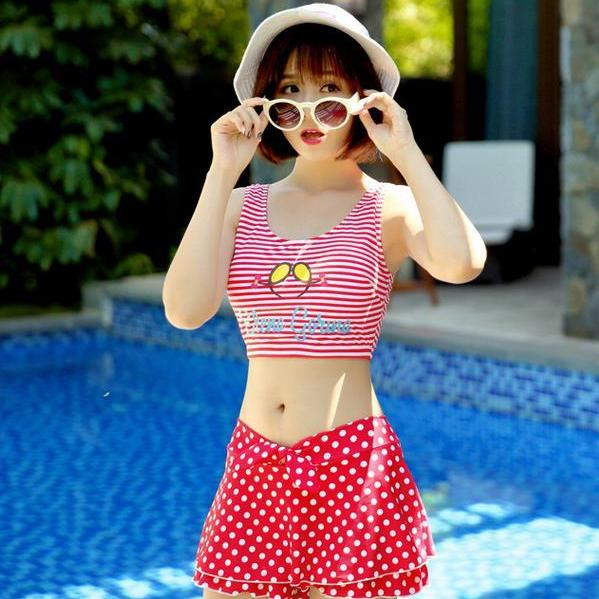 Cute Women Swimsuit Red Dot Beach Suit Swimsuit Swimwear