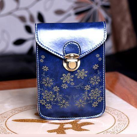 Women Messenger Bags Small Female Shoulder Bags- Blue