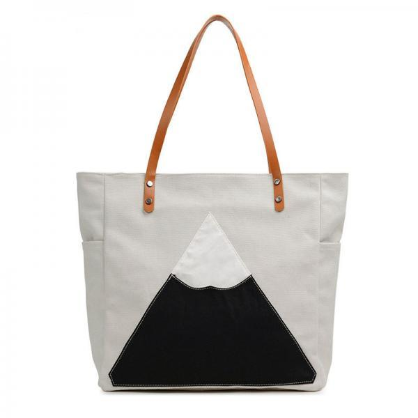 White Mountain Peak Casual Canvas Tote Bag, Shoulder Bag