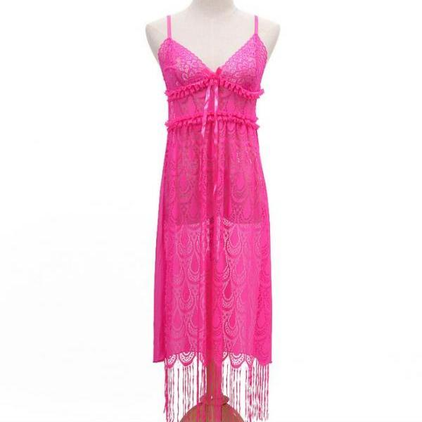 Sexy Long Night Gown Long Lingerie Women Sexy Nightwear Sleepwear - Rose