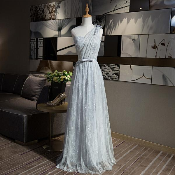 New Arrival A-line One Shouler Grey Color Elegant Long Evening Party Prom dress