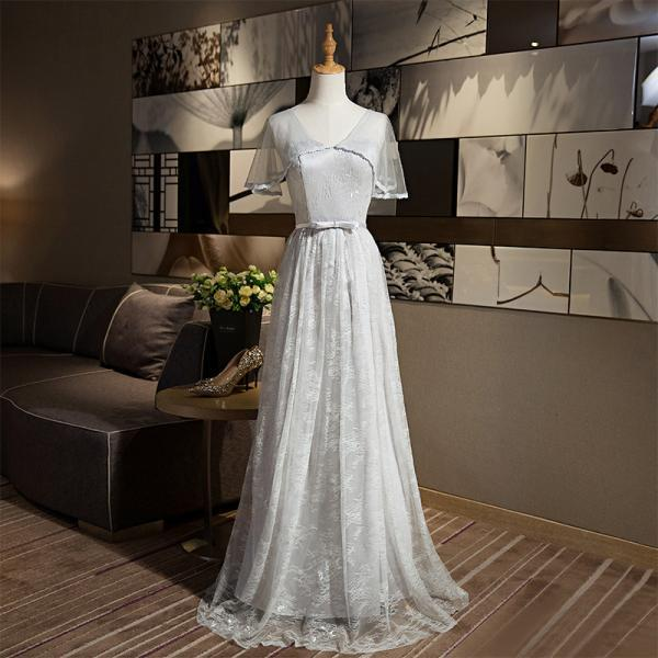 New Arrival A-line V Neck Grey Color Elegant Long Evening Party Prom dress