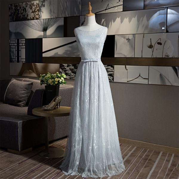 New Arrival A-line Sleeveless Grey Color Elegant Long Evening Party Prom dress
