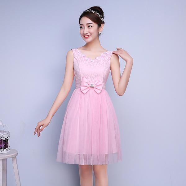 Cute Bow Mini Bridesmaid Dress Party Prom Gown - Pink