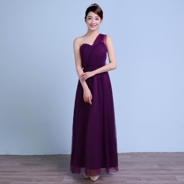 Convertible Long Wedding Bridesmaid Dresses Formal Party Dresses - Dark Purple