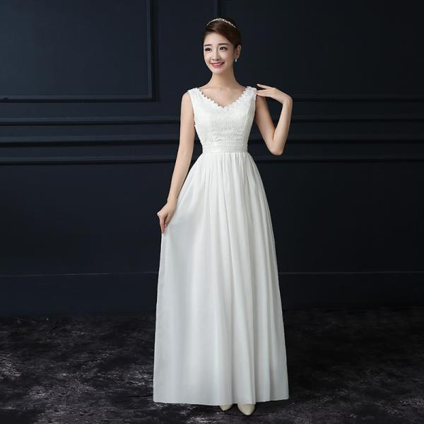 White Color Chiffon V Neck Sleeveless Long Bridesmaid Wedding Party Dress