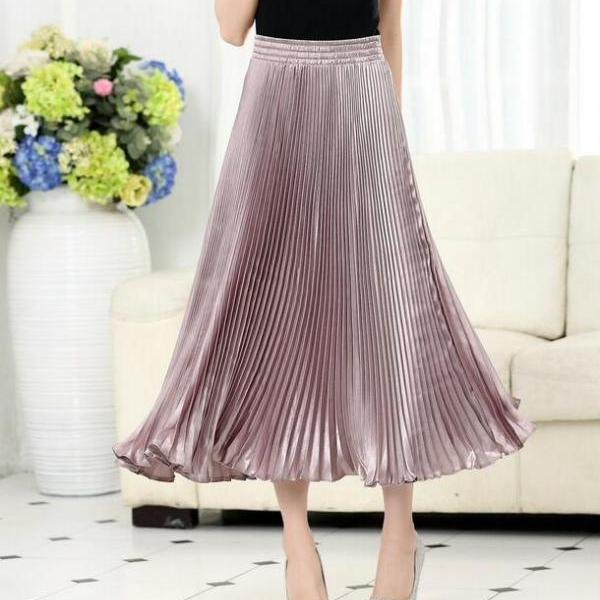 Autumn Satin Summer Casual Smooth Women Elastic Pleated Long Skirt - Naked Pink