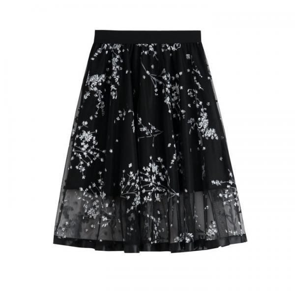 Black Floral Print Mesh Pleated Skirt