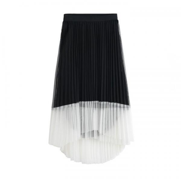 New Women Irregular Pleated Skirts - Black
