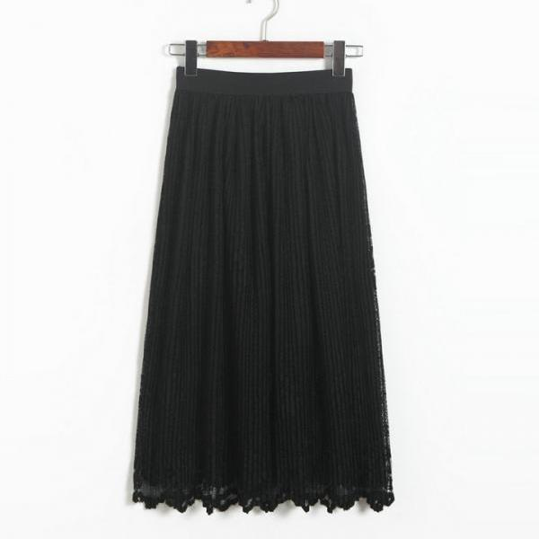 New Lace Hollow Pleated Skirts - Black