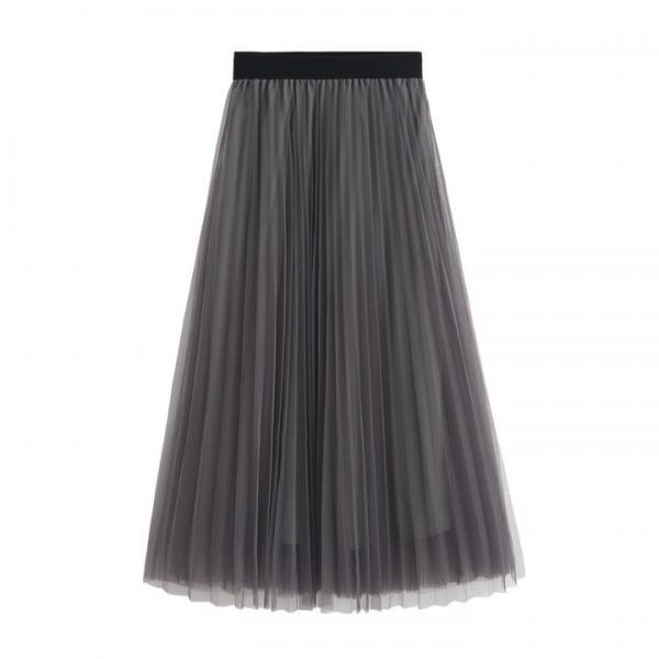 Women Slim High Waist Pleated Solid Color Skirt Skirts - Grey