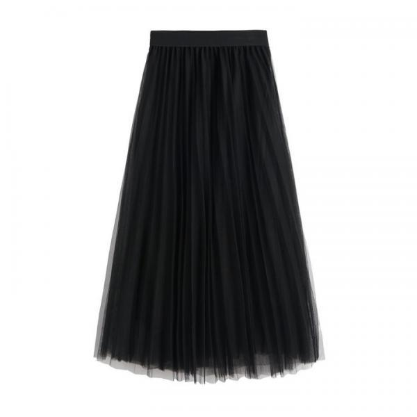 High Waist Pleated Tulle Maxi Skirt - Black