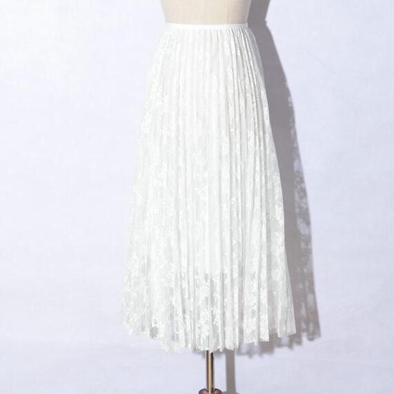 Summer Women Sexy Lace Skirts Fashion Solid Casual Mesh tulle skirt - White