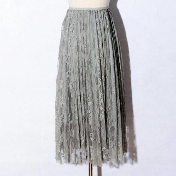 Summer Women Sexy Lace Skirts Fashion Solid Casual Mesh tulle skirt - Grey