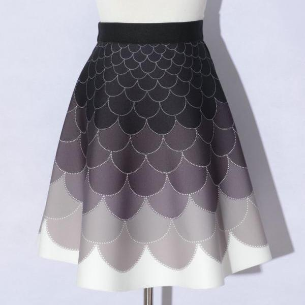 Elegant Printing Scale Pattern A-Line Skirts