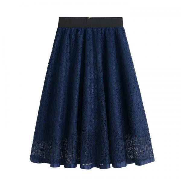 New High Waist Gauze Skirt Lace Hollow Female Skirt - Blue