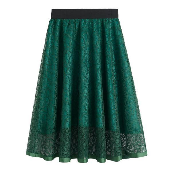 New High Waist Gauze Skirt Lace Hollow Female Skirt - Green