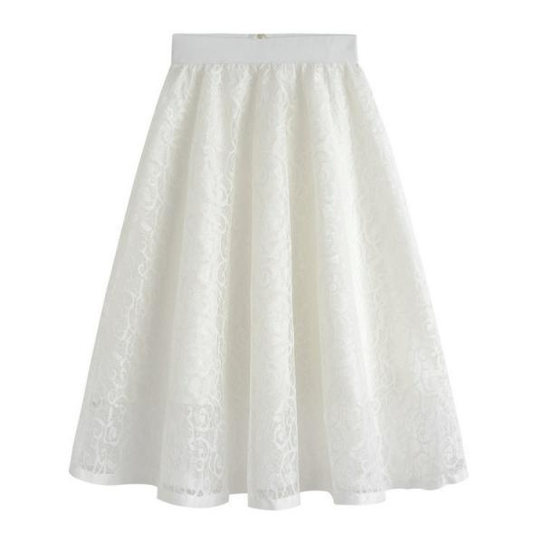 New High Waist Gauze Skirt Lace Hollow Female Skirt - White