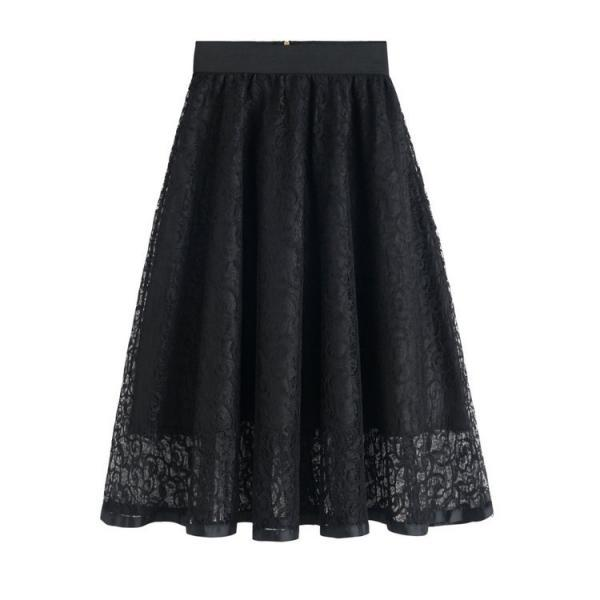 New High Waist Gauze Skirt Lace Hollow Female Skirt - Black